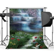 Photography Backdrops Fairy Tale Dream Like Mysterious Garden Flowers Waterfall Scenery