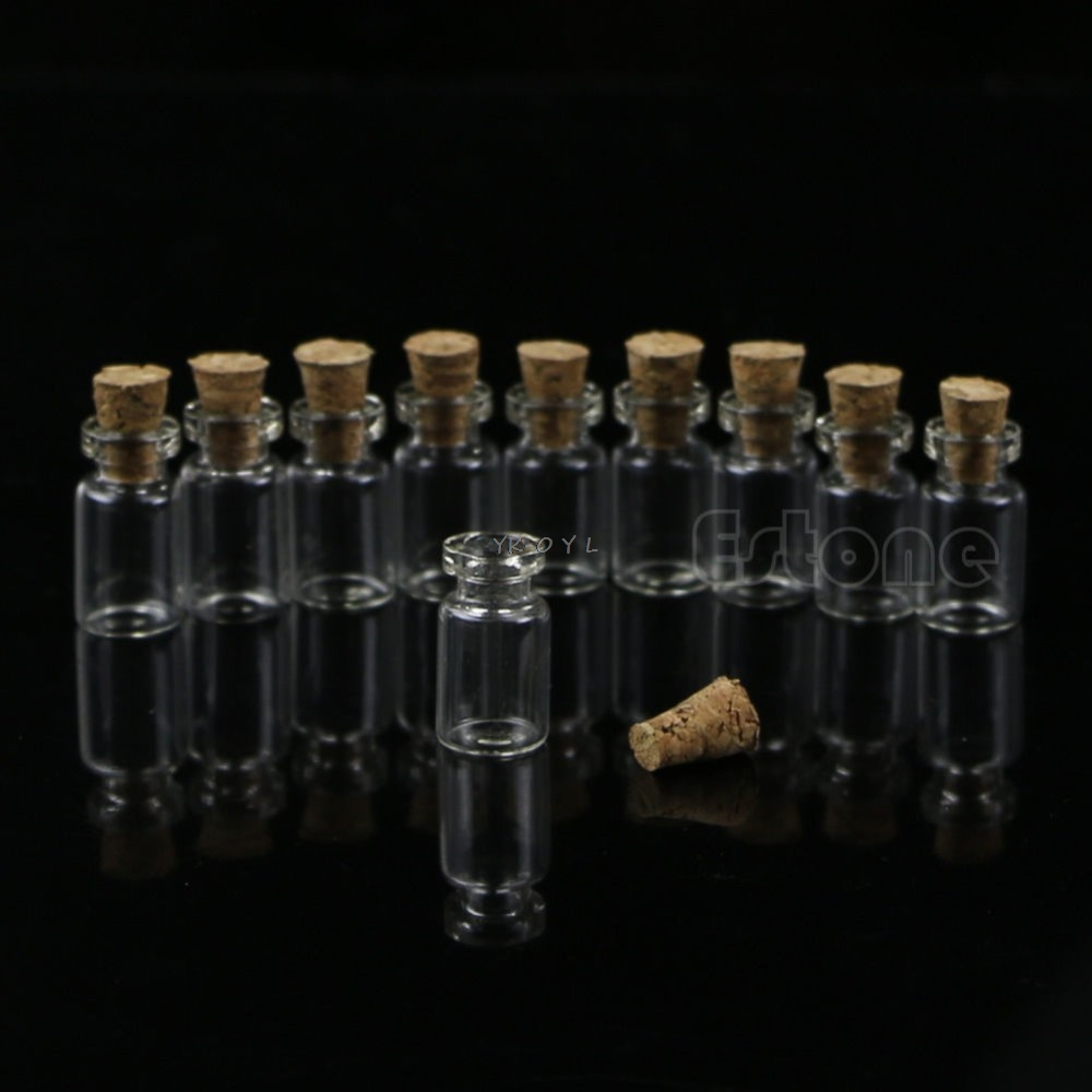 10pcs Small Bottle Glass Jars Decoration DIY Containers Mini