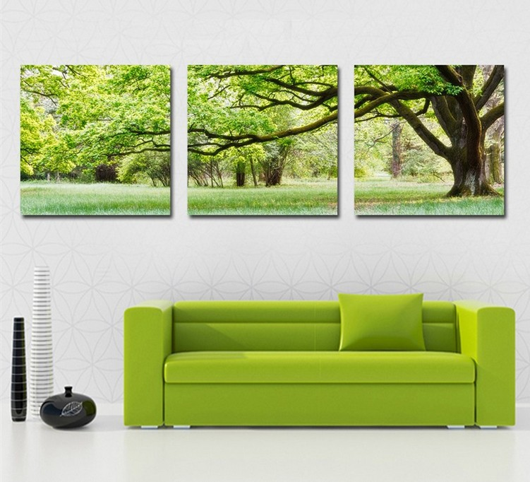 Good HOME DECORATION 3 Piece Canvas Wall Art Tree Picture Canvas Painting Green  Tree Painting Large Wall Pictures For Living Room In Painting U0026 Calligraphy  From ...