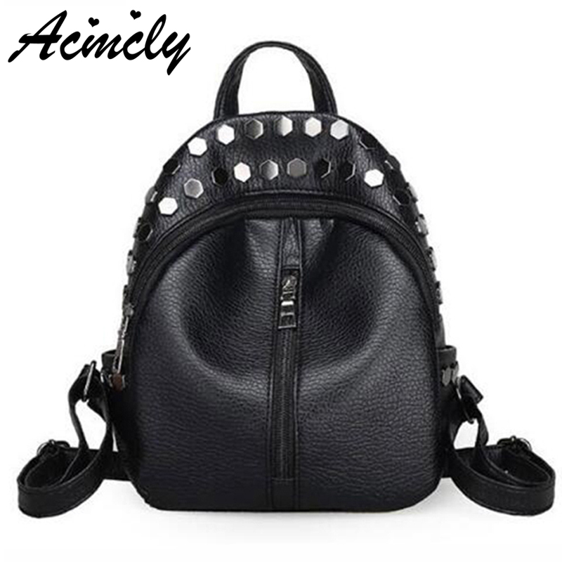 Best buy Fashion Small Women Backpacks Small Rivet Zipper Pu Leather  Student Backpack Preppy Style Backpack Girls Women Back Pack A672 O online  cheap a983972697aae