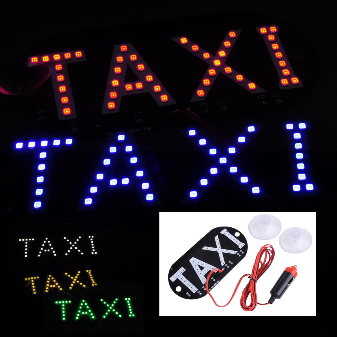 CITALL Car Auto DC 12V 45 LED Indicator Cab Roof Taxi Sign Light Interior Windscreen Lamp With Cigarette Lighter Plug