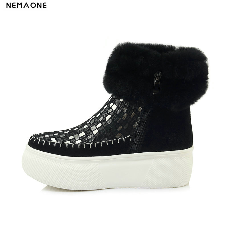 NemaoNe Flats Winter Shoes Ankle Boots For Women 100% Real Fur Warm Cotton Ladies Shoes 2018 New Arrival Flat Heel Snow Boots nemaone 100