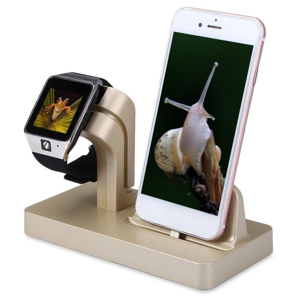 2-in-1 <font><b>Quick</b></font> <font><b>Charging</b></font> Dock Stand Station ABS Holder Space Saver For Apple Watch For iPhone <font><b>Charging</b></font> Sation Holder image