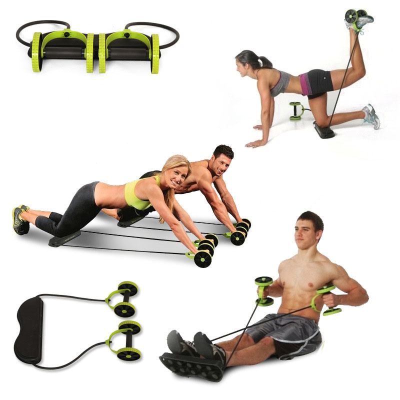 AB Wheels Roller Stretch Elastic Abdominal Resistance Pull Rope Tool AB roller for Abdominal muscle trainer exercise 2