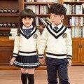 Uniformes escolares Suéter de Gran tamaño Pequeño código de estilo Británico Falda Plisada Set media ropa de los estudiantes de la escuela Primaria