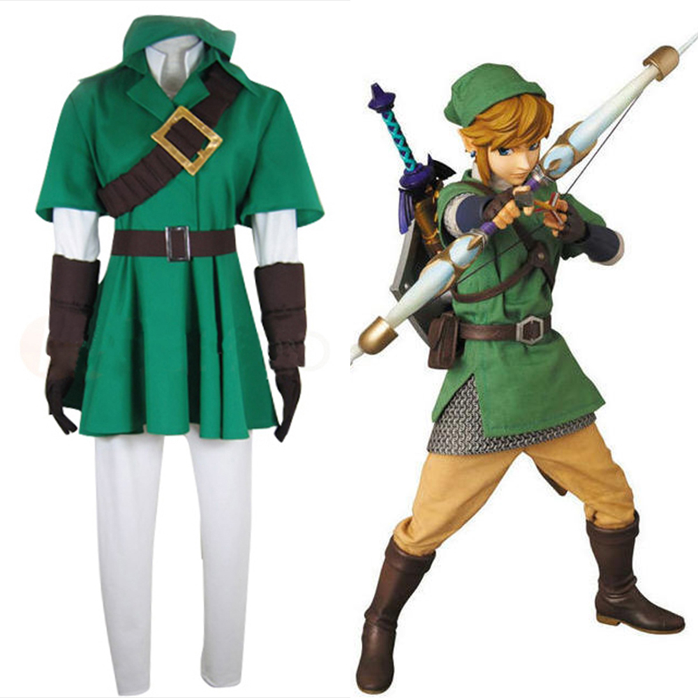 Anime The Legend of Zelda Zelda Link Cosplay Costume Halloween Party Costume Fighting Uniform Full Set