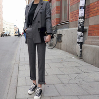 Fashion Spring And Autumn Slim Trousers Two Pieces Grey Double Breast Button Long Pant Jacket Office Lady Long Sleeves Lady Suit