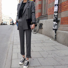 Fashion Spring And Autumn Slim Trousers Two Pieces Grey Double Breast Button Long Pant Jacket Office Lady Long Sleeves Lady Suit(China)