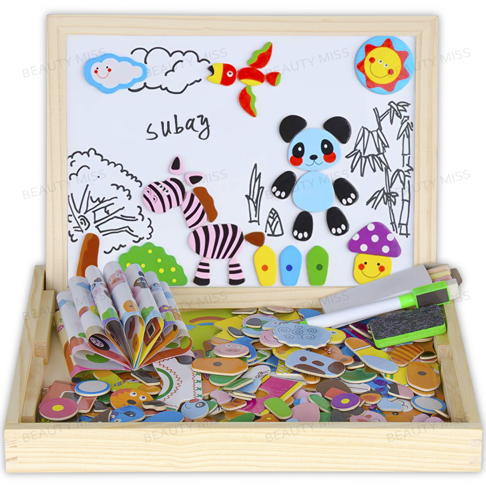 Forest Animal Wooden magnetic easel board Jigsaw Puzzle Toy Box with Blackboard Whiteboard for children to draw