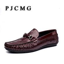 PJCMG New Mens Casual Couro Genuíno Slip-On Projeto Crocodilo Homens Mocassins Flats Condução Mocassins Macios Sapatos Sociais