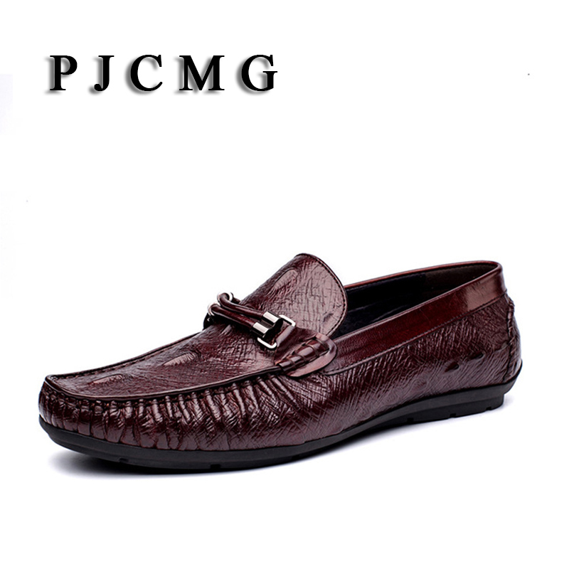 PJCMG New Mens Casual Ekte Skinn Slip-On Crocodile Design Menn Loafers Flats Social Driving Soft Moccasins Shoes