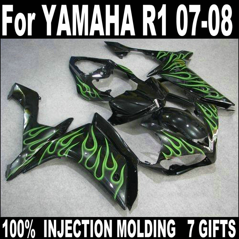 Injection molding fairing for Yamaha YZFR1 2007 2008 green flames black body work parts fairing kit YZFR1 07 08 BC64