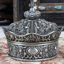 Crown alloy metal jewelry box Bronze and ancient tin color j
