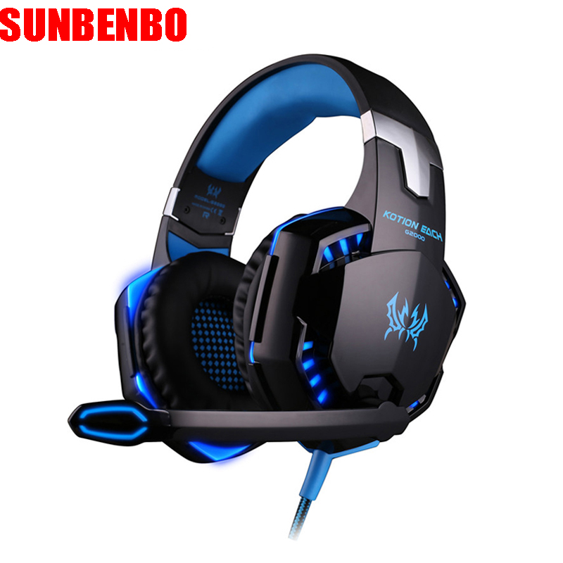 Computer Stereo Gaming Headphones Kotion EACH G2000 Best casque Deep Bass Game Earphone Headset with Mic LED Light for PC Gamer original xiberia v2 led gaming headphones with microphone mic usb vibration deep bass stereo pc gamer headset gaming headset
