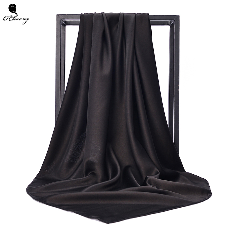 O CHUANG Black Women Square Silk Scarf Wraps Autumn Winter Sjaal Luxury Large Satin Scarves Muslim Head Scarf 90*90cm
