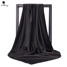 O CHUANG Black Women Square Silk Scarf Wraps Autumn Winter S