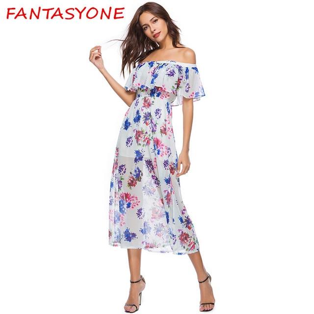 ed2e685654fb FANTASYONE Women Off Shoulder Floral Print Boho Dress Fashion Beach Summer  Dresses New 2018 Ladies Strapless Long Dress Vestidos