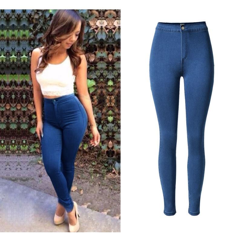 SUNSPA Hot Sale Slim Jeans For Women Skinny High Waist Jeans Woman Blue Denim Pencil Pants Stretch Waist casual pants female