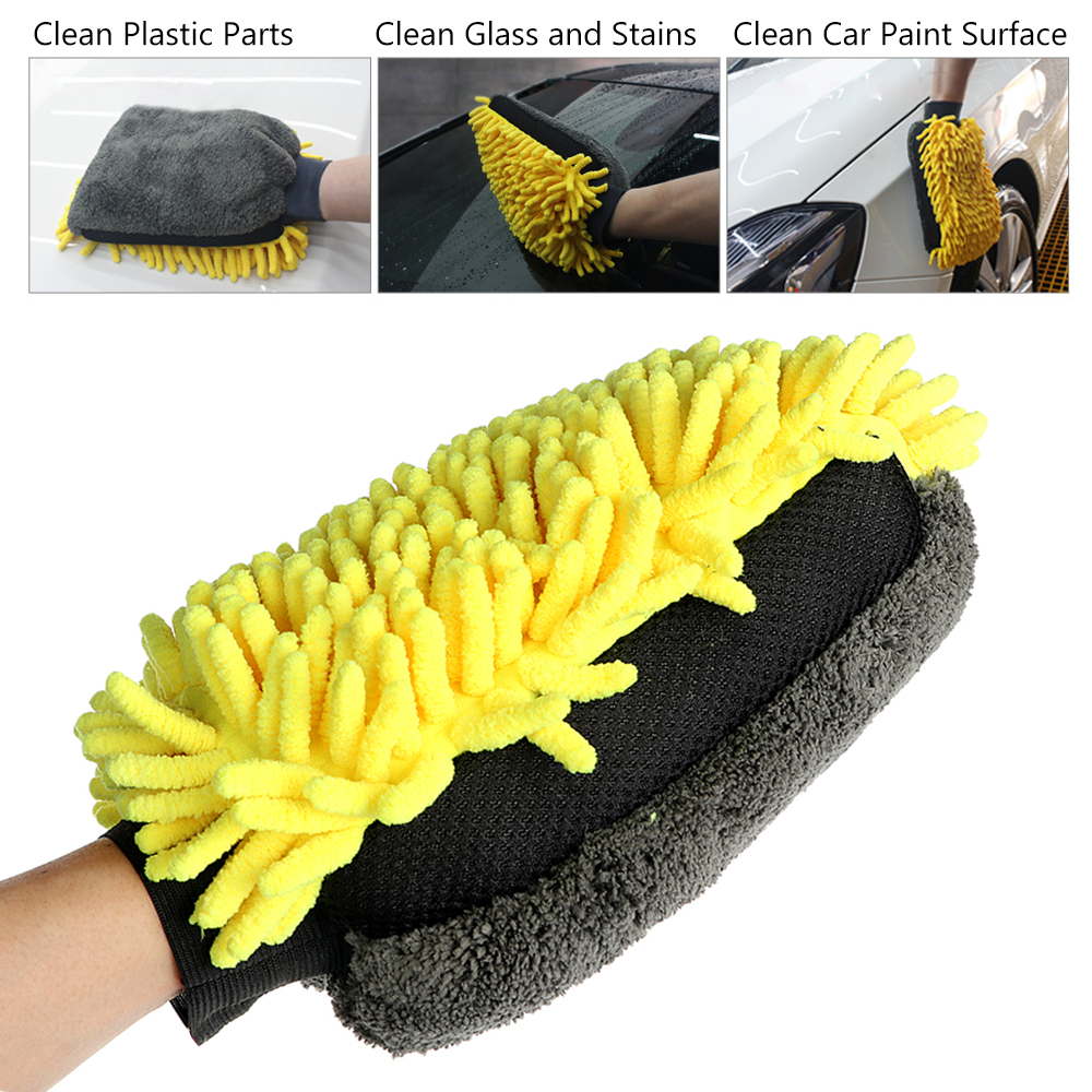 Multi-function 3 in 1 Car Wash Gloves Car Cleaning Wax Detailing Brush Microfiber Chenille Auto Care Waterproof Car-styling цена