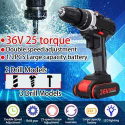 36V 5000mAh 5~28Nm 25-speed Torque Double Speed Brushless Cordless Electric Drill Screwdriver Hammer LED lighting