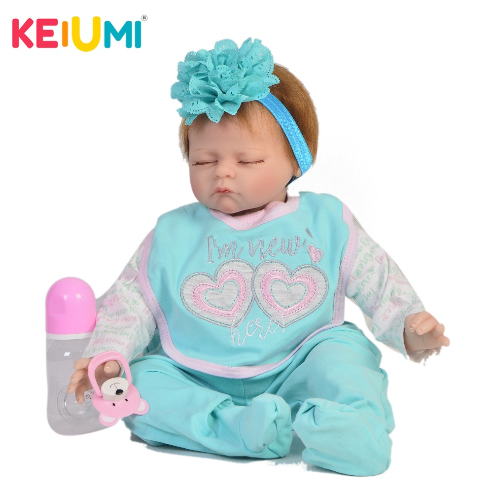 KEIUMI Real Look 22 Inch Reborn Baby Doll Cloth Body Realistic Fashion Sleeping Baby Doll Toy For Children's Day Kid Gifts блуза modis modis mo044ewblny0