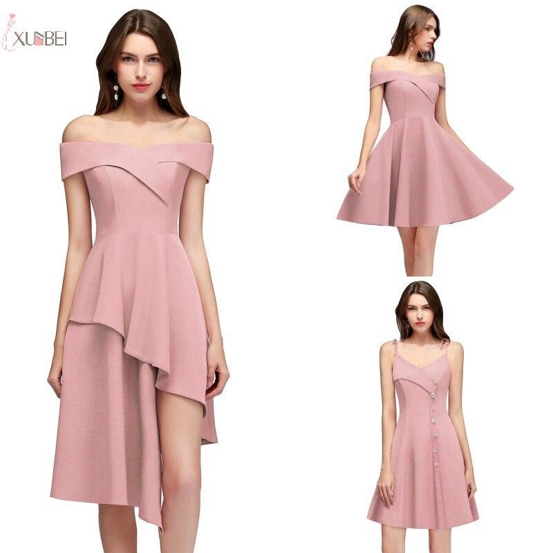 Elegant 2019 Pink Burgundy Short   Bridesmaid     Dresses   Off The Shoulder Sleeveless Wedding Party Gown vestido madrinha