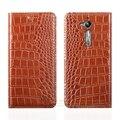 """Crocodile grain genuine leather case para asus zenfone go zb500kl zb500kg 5.0 """"Slot Para Cartão de Telefone Celular de luxo Capa & Ímã Invisível 1"""
