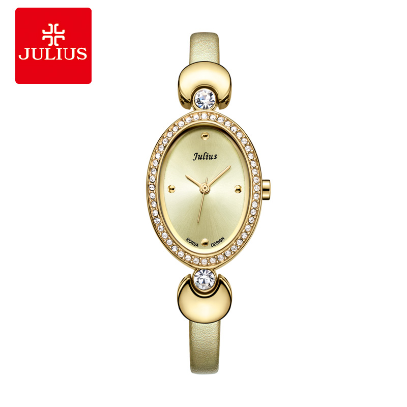 JULIUS Cheap Promotion Watch High Quality Gold Tone Leather Band Romantic Gift For GF Ladies Dress Wtach Elegant Montre JA-313 все цены