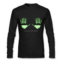 Wholesale Glow in the Dark Skeleton Hands Clothes Adult Round Collar White T Shirt New Style Full Sleeve Men T-Shirts