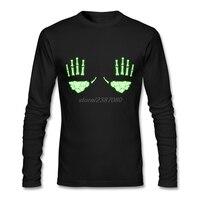 Bán buôn Glow in the Dark Skeleton Hands Quần Áo Người Lớn Vòng Cổ Áo T Áo Sơ Mi Trắng Phong Cách Mới Đầy Tay Men T-Shirts