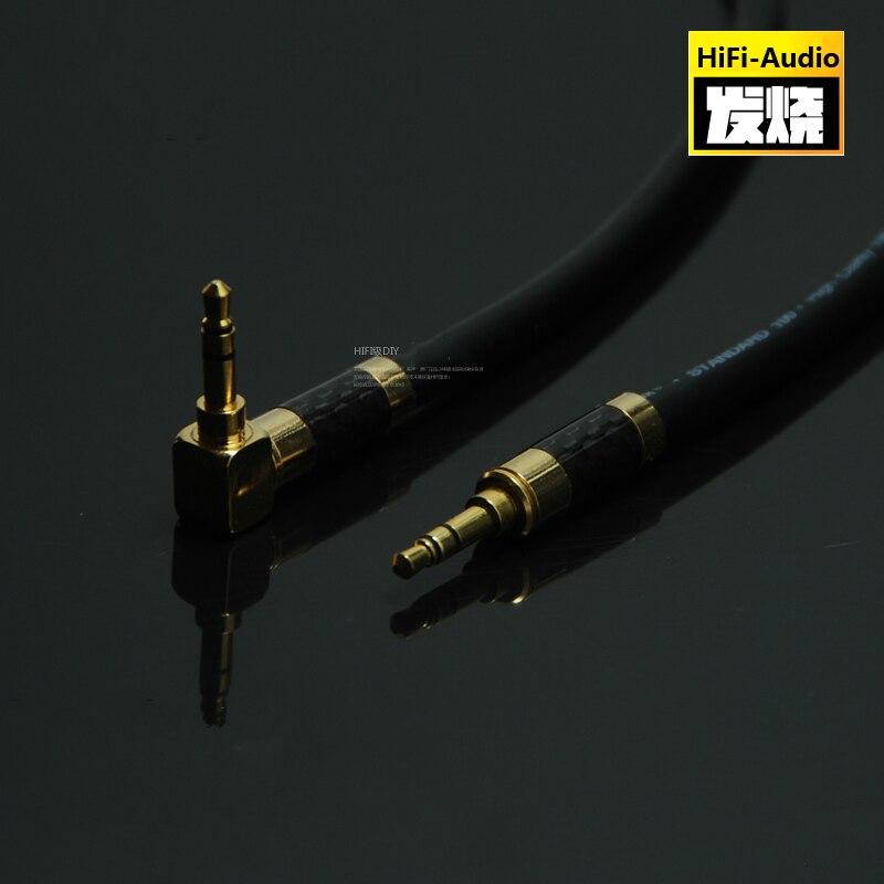 Alta fidelidade diy 3.5mm a 3.5mm fone de ouvido fio conexão aux cabo de áudio macho para macho 3.5mm carro gravação cabo com fibra carbono escudo