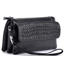 Three Layers Zero Purse Women Clutch Genuine Leather Handbag Wristlets Shoulder Messenger Evening Stone Pattern Bags for Phone