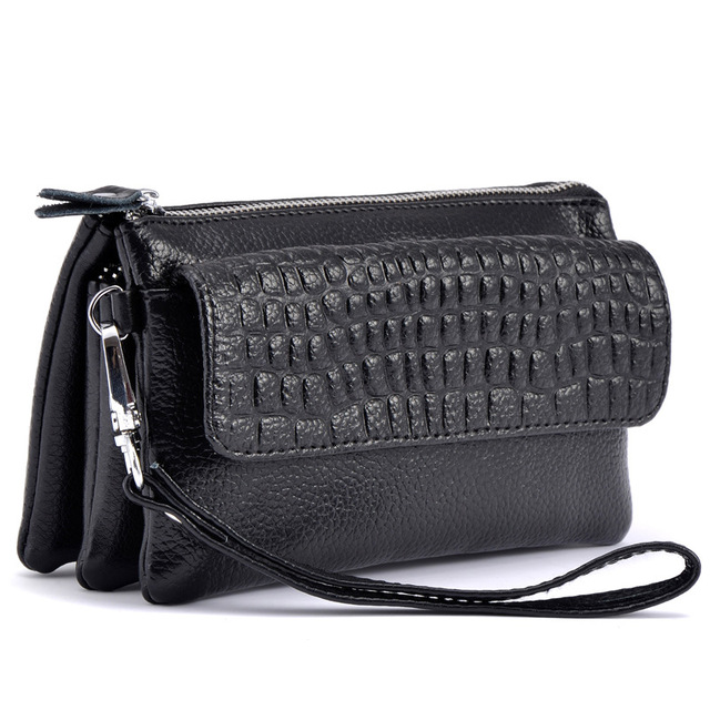 Three Layers Zero Purse Women Clutch Genuine Leather Handbag Wristlets Shoulder  Messenger Evening Stone Pattern Bags for Phone e00ac9c09a