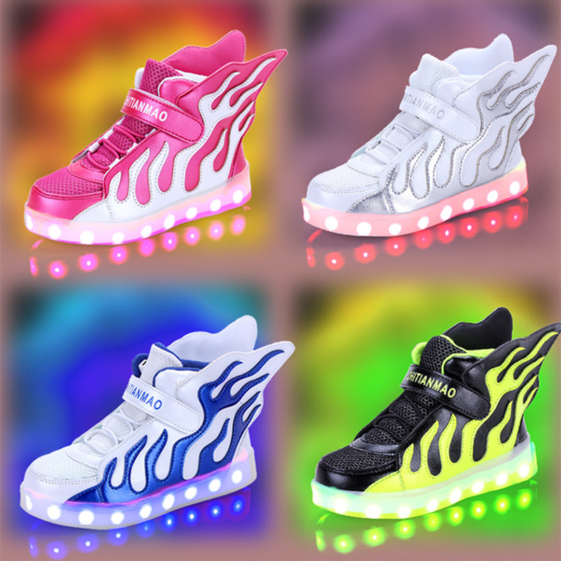 LED girls shoes shined tenis led infantil luminous kids light up boys shoes glowing sneakers lights shining shoes USB Charge led glowing sneakers kids shoes flag night light boys girls shoes fashion light up sneakers with luminous sole usb rechargeable
