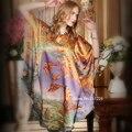 Платье шелк винтажный, лето женщин 100% натуральная шелковицы дамы с круглым вырезом короткий рукав печать бабочка чистый ночь dreese