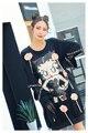 Melinda Estilo 2017 de las nuevas mujeres de moda camiseta con lentejuelas patrón de cartón remiendo del cordón envío libre superior