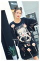Melinda Style 2017 new women fashion t-shirt sequined carton pattern lace patchwork top free shipping