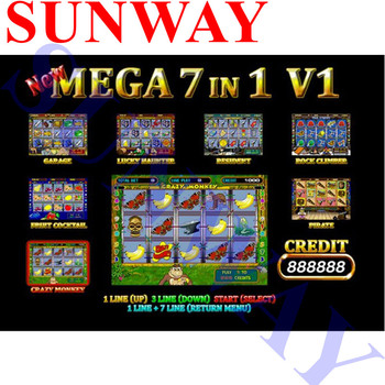 New Mega 7 in 1(40-96%) PCB Crazy Monkey Fruit Cocktail Garage Lucky Haunter Resident Rock for coin operated slot game machine