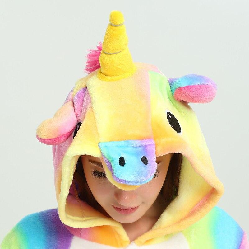 Rainbow Unicorn Pajamas Adults Animal Onesies for Women Pajamas Suit Cartoon Kigurumi Uincorn Men Winter Flannel Sleepwear