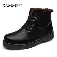 Echt Leer Mannen Schoenen Winter Laarzen Mannen Merk Flats Winter Schoenen Casual Schoenen Warm Pluche Plus Big Size Hoge Kwaliteit xammep