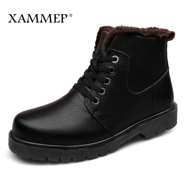 Echtes Leder Männer Schuhe Winter Stiefel Männer Marke Wohnungen Winter Schuhe Casual Schuhe Warme Plüsch Plus Große Größe Hohe Qualität xammep