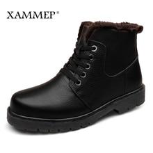Genuine Leather Men Shoes Winter Boots Men Brand Flats Winter Shoes Casual Shoes Warm Plush Plus Big Size High Quality Xammep