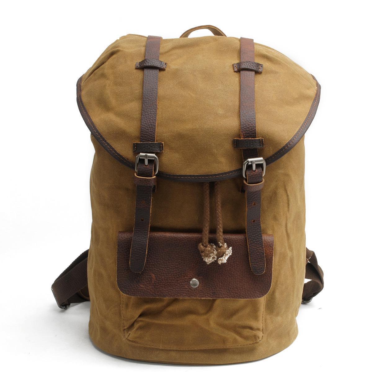 ФОТО High Quality Vintage Fashion Casual Canvas Crazy Horse Leather Women Men Backpack Rucksack Shoulder Bag Bags For Men Women