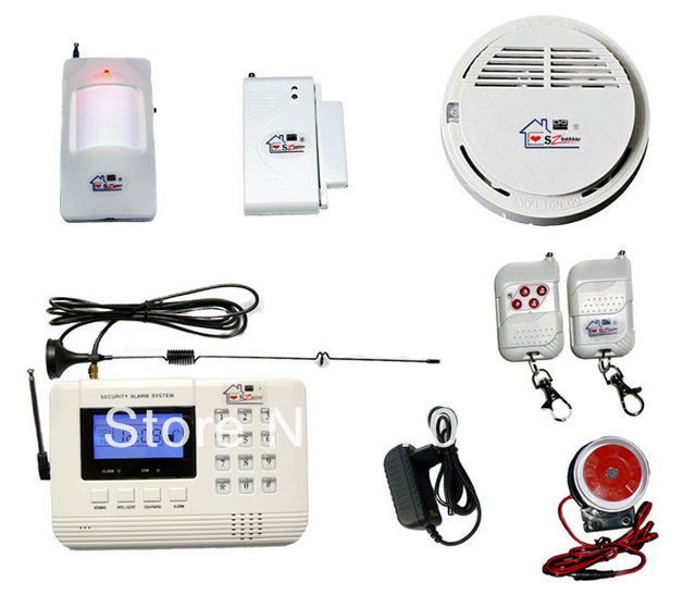 Free shipping + SZ bazaar HOT large quantity  Wireless GSM/PNTS/SMS/Call Autodial  Home LCD Security Alarm System Smoke 19
