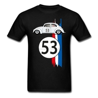 Men S Logo Printing T Shirts With VW Beetle Herbie Awesome T Shirt Shop For MaleBlack