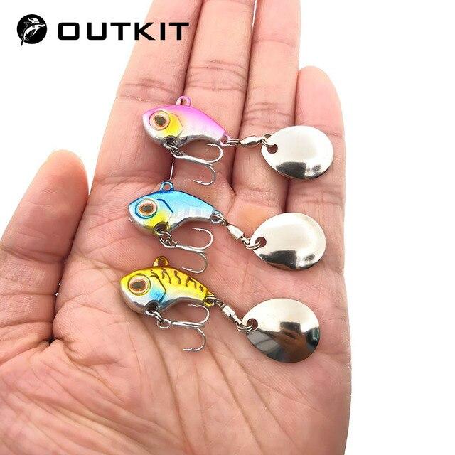 OUTKIT nouveauté métal Mini VIB avec cuillère leurre de pêche 9.5g-22g hiver glace leurres matériel de pêche manivelle Vibration Spinner