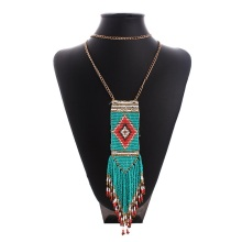Za Bib Maxi Star Bohemian Luxury Flower Long Cheap Statement Tassel Power Breaded Necklaces Women 2016 Green Fashion Wholesale