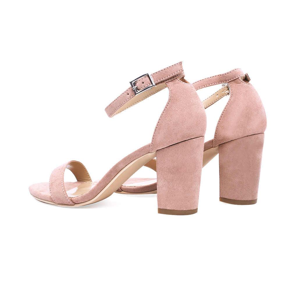 GENSHUO 2019 ayak bileği kayışı topuklu kadın sandalet yaz ayakkabı kadınlar açık Toe tıknaz yüksek topuklu parti elbise sandalet büyük boy 42