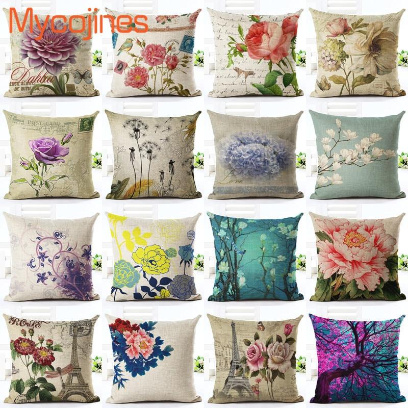 >Euro Style Home Decor <font><b>Cushion</b></font> <font><b>Cover</b></font> Big Rose Throw Pillow Case Sofa Seat Vintage Flowers <font><b>Cushion</b></font> <font><b>Cover</b></font> <font><b>Decorative</b></font> Cotton Linen