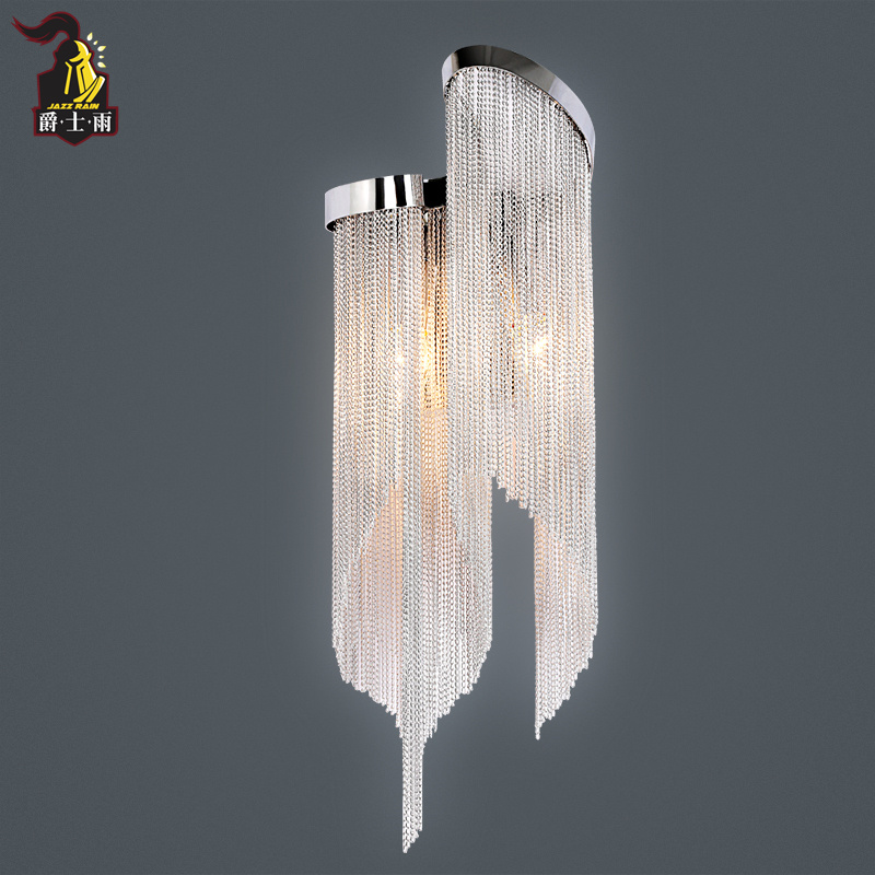 postmodern north europ aluminum chain tassel wall lamp personality living room Villa Club chain lamp personality feather tassel belt